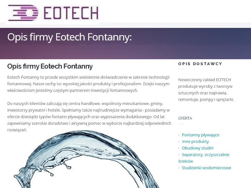 Opis firmy Eotech Fontanny